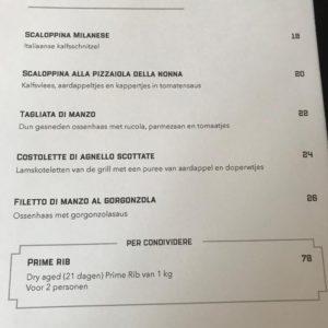 Menukaart Italiaans Restaurant Maximiliano Laren Nh